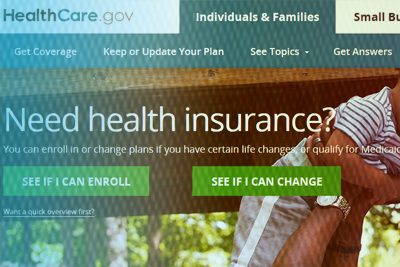 Graphic of the Healthcare.gov website with person holding baby in air