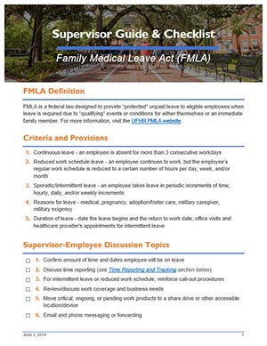 FMLA Supervisor Guide and Checklist